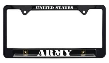Full-Color Army Retired Black License Plate Frame