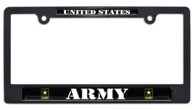 Full-Color US Army Black Plastic License Plate Frame