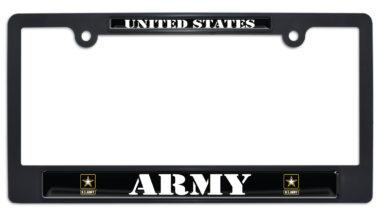 Full-Color US Army Black Plastic License Plate Frame image
