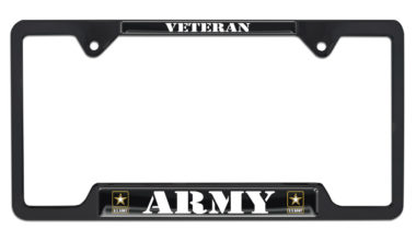 Full-Color Army Veteran Black Open License Plate Frame