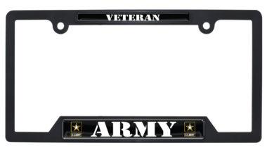 Full-Color Army Veteran Black Plastic Open License Plate Frame image