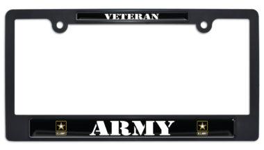Full-Color Army Veteran Black Plastic License Plate Frame
