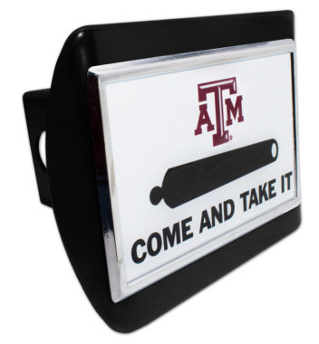 Texas A&M Come and Take It Emblem on Black Hitch Cover