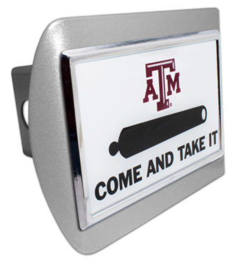 Texas A&M Cannon Emblem on Brushed Hitch Cover