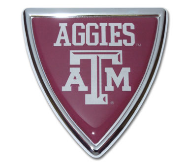 Texas A&M Shield Chrome Emblem