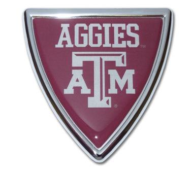 Texas A&M Shield Chrome Emblem