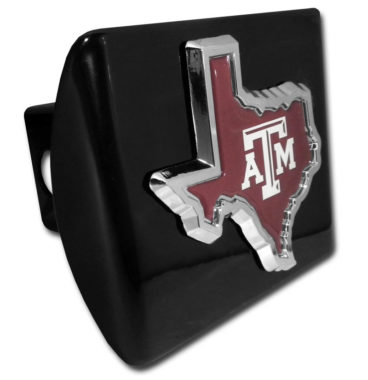 Texas A&M State Shape Color Emblem on Black Hitch Cover