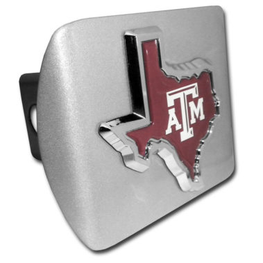 Texas A&M State Shape Color Emblem on Brushed Hitch Cover