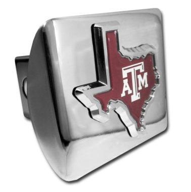Texas A&M State Shape Color Emblem on Chrome Hitch Cover
