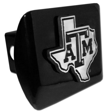 Texas A&M State Shape Emblem on Black Hitch Cover