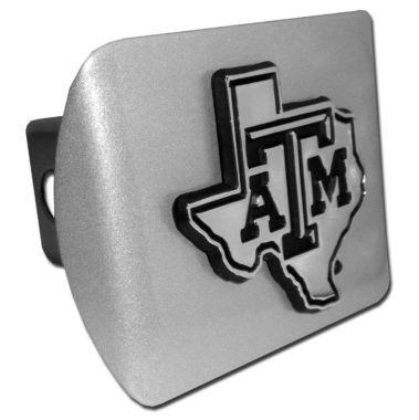Texas A&M State Shape Emblem on Brushed Hitch Cover