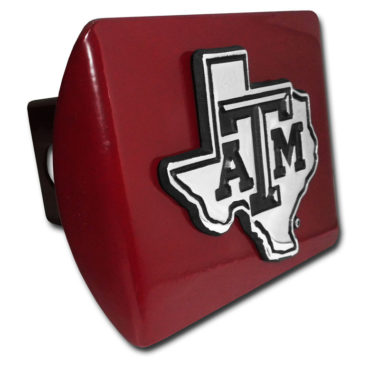 Texas A&M State Shape Emblem on Maroon Hitch Cover image