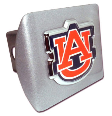 Auburn Orange Emblem on Brushed Hitch Cover
