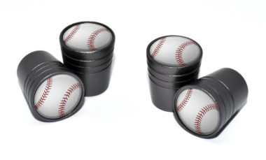 Baseball Valve Stem Caps - Black image