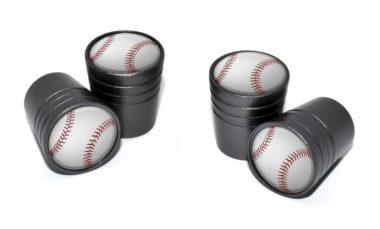 Baseball Valve Stem Caps - Black