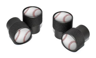 Baseball Valve Stem Caps - Black Knurling