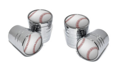 Baseball Valve Stem Caps - Chrome image