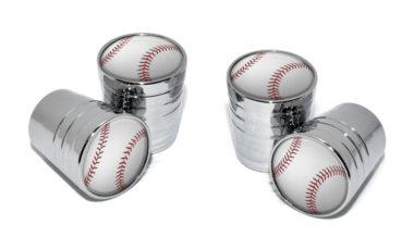 Baseball Valve Stem Caps - Chrome