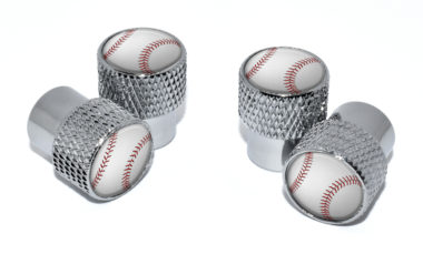 Baseball Valve Stem Caps - Chrome Knurling