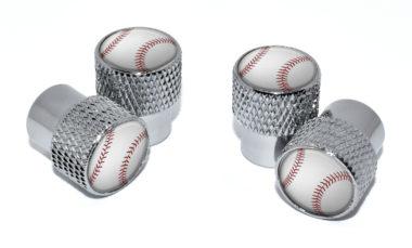 Baseball Valve Stem Caps - Chrome Knurling image