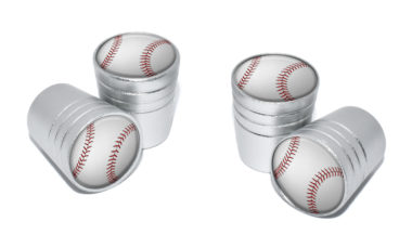 Baseball Valve Stem Caps - Matte Chrome image