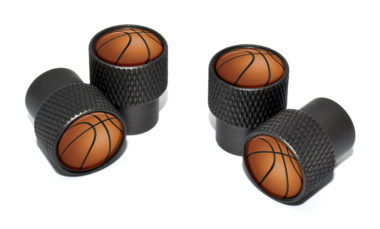 Basketball Valve Stem Caps - Black Knurling