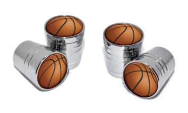 Basketball Valve Stem Caps - Chrome image