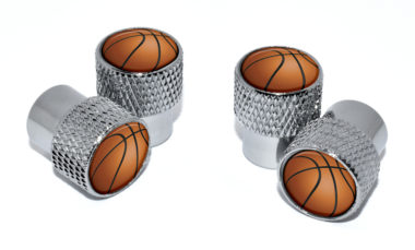 Basketball Valve Stem Caps - Chrome Knurling