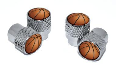 Basketball Valve Stem Caps - Chrome Knurling image