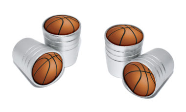 Basketball Valve Stem Caps - Matte Chrome image