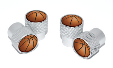 Basketball Valve Stem Caps - Matte Knurling