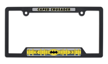 Batman Belt Open Black Plastic License Plate Frame