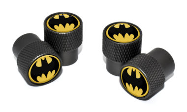 Batman Valve Stem Caps - Black Knurling