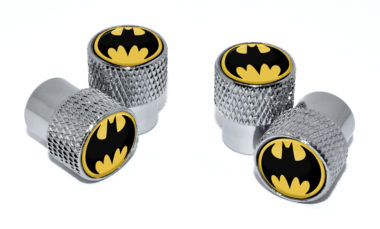 Batman Valve Stem Caps - Chrome Knurling