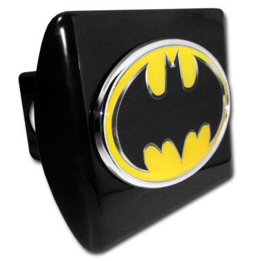 Batman Yellow Emblem on Black Hitch Cover