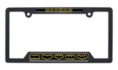 Batman Evolution Open Black Plastic License Plate Frame