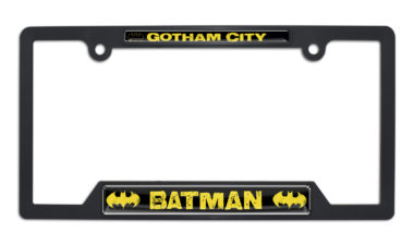 Batman Gotham City Open Black Plastic License Plate Frame image