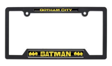 Batman Gotham City Open Black Plastic License Plate Frame image