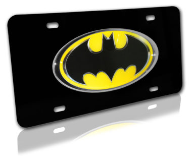 Batman Yellow and Black 3D License Plate image