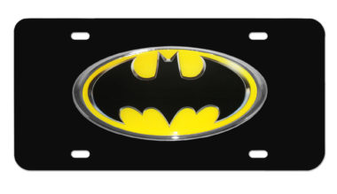 Batman Yellow and Black License Plate image