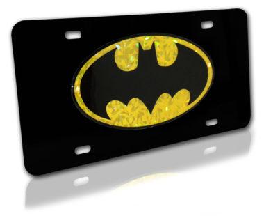 Batman Yellow Reflective Black License Plate image