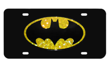 Batman Yellow Reflective Black License Plate image
