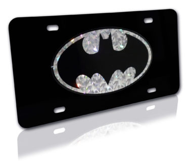 Batman Silver Reflective Black License Plate