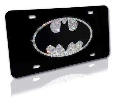 Batman Silver Reflective Black License Plate image