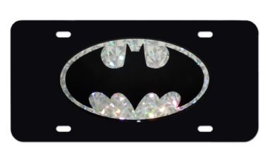 Batman Silver Reflective Black License Plate image