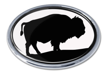 Bison White Chrome Emblem