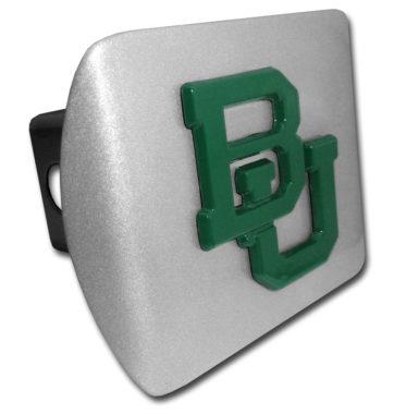 Baylor University Green Emblem on Brushed Metal Hitch Cover