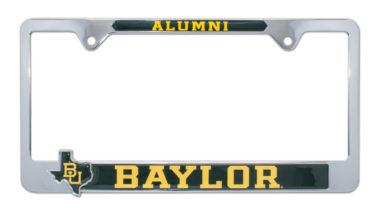 Baylor Alumni License Plate Frame with 3D Texas Shape