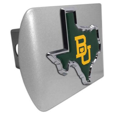 Baylor University Texas Shape Color Emblem on Brushed Hitch Cover