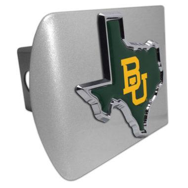 Baylor University Texas Shape Color Emblem on Brushed Hitch Cover